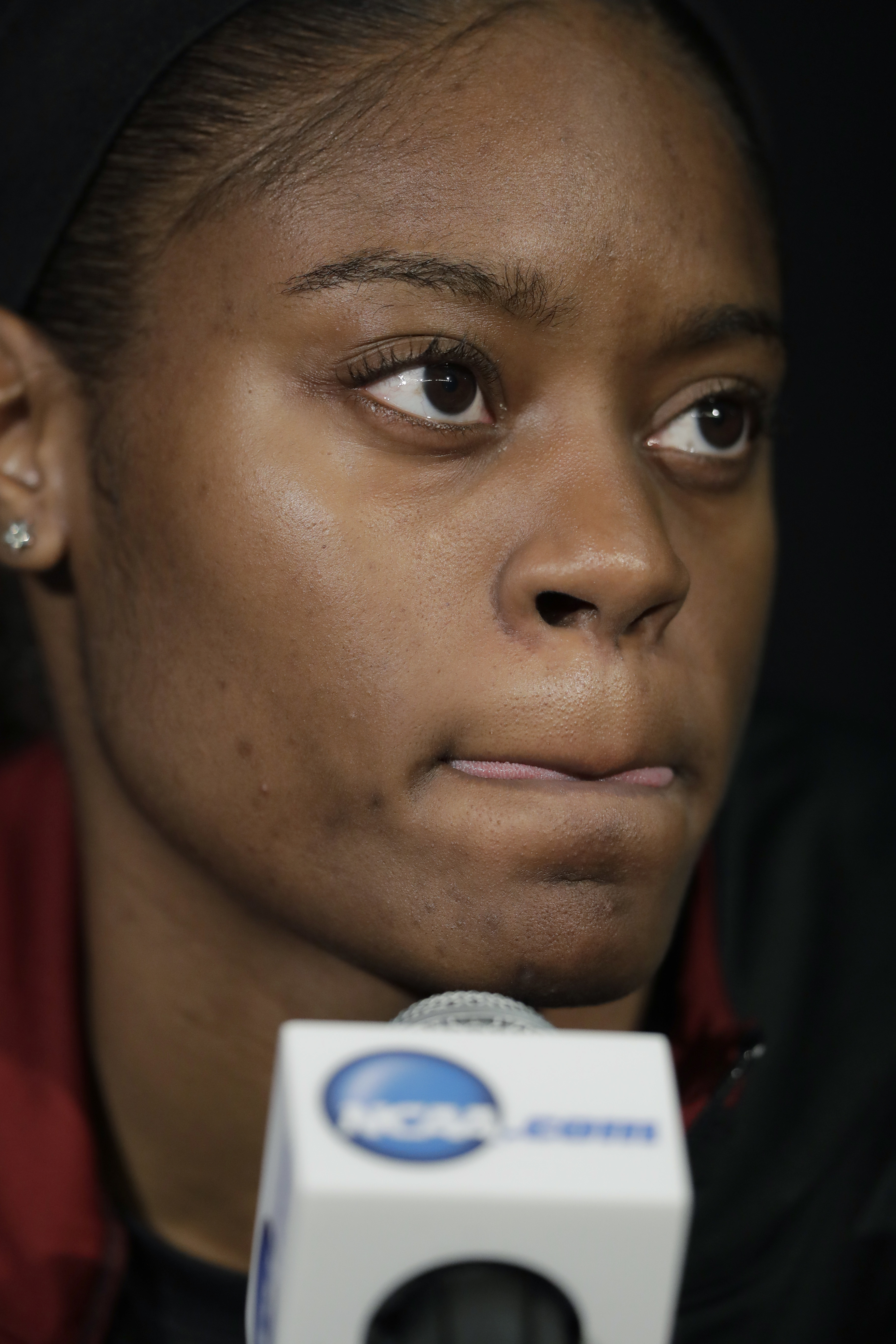 South Carolina guard Kaela Davis listens to a question during a news conference at the women's Final Four college basketball tournament, Saturday, April 1, 2017, in Dallas. South Carolina will play Mississippi State on Sunday in the NCAA Championship. (AP
