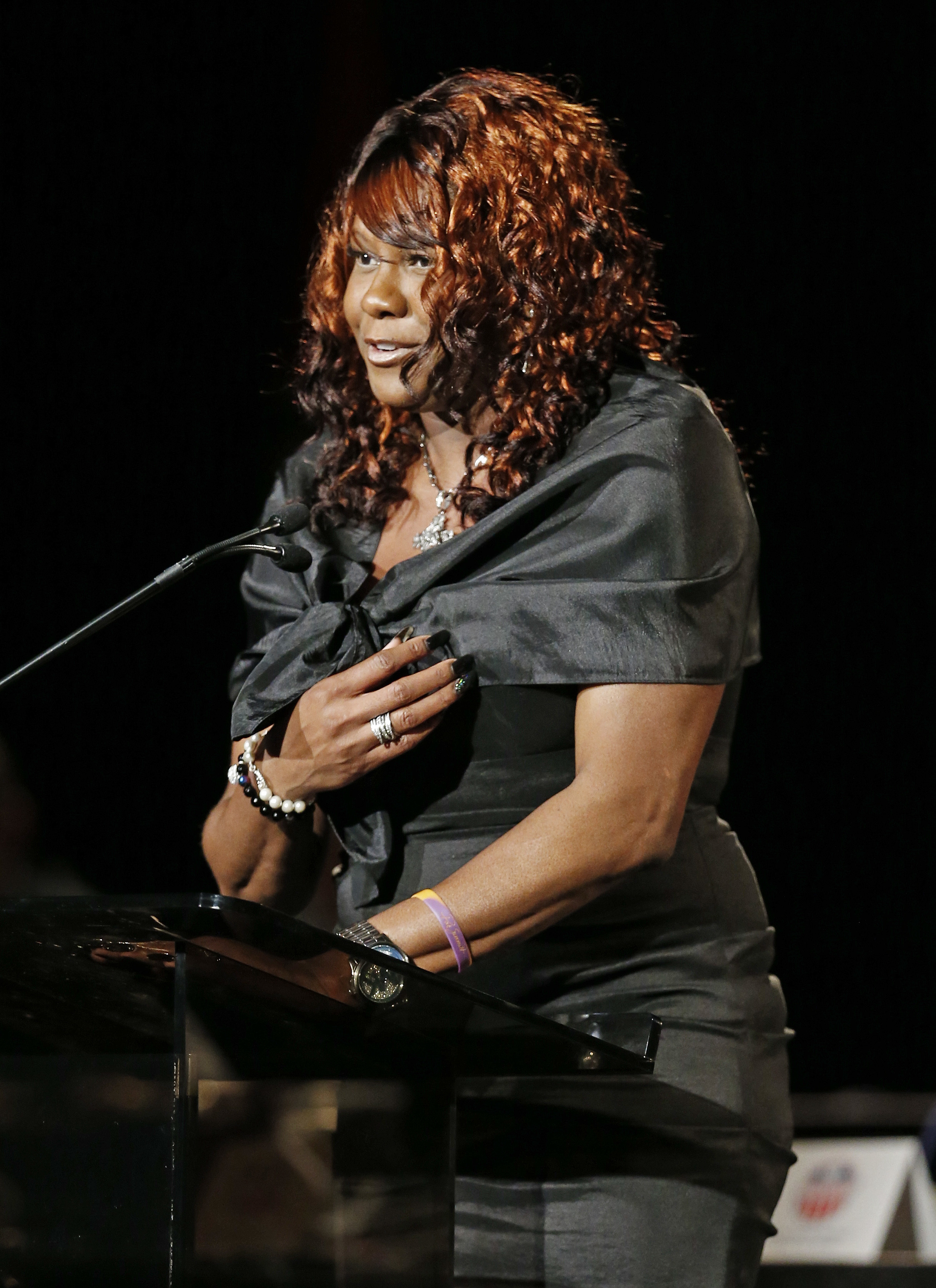 FILE - In this May 17, 2014, file photo, former Tennessee basketball player Bridgette Gordon speaks after being inducted into the Tennessee Sports Hall of Fame, in Nashville, Tenn. U.S. Olympic gold medalist Bridgette Gordon, who led Tennessee to two nati