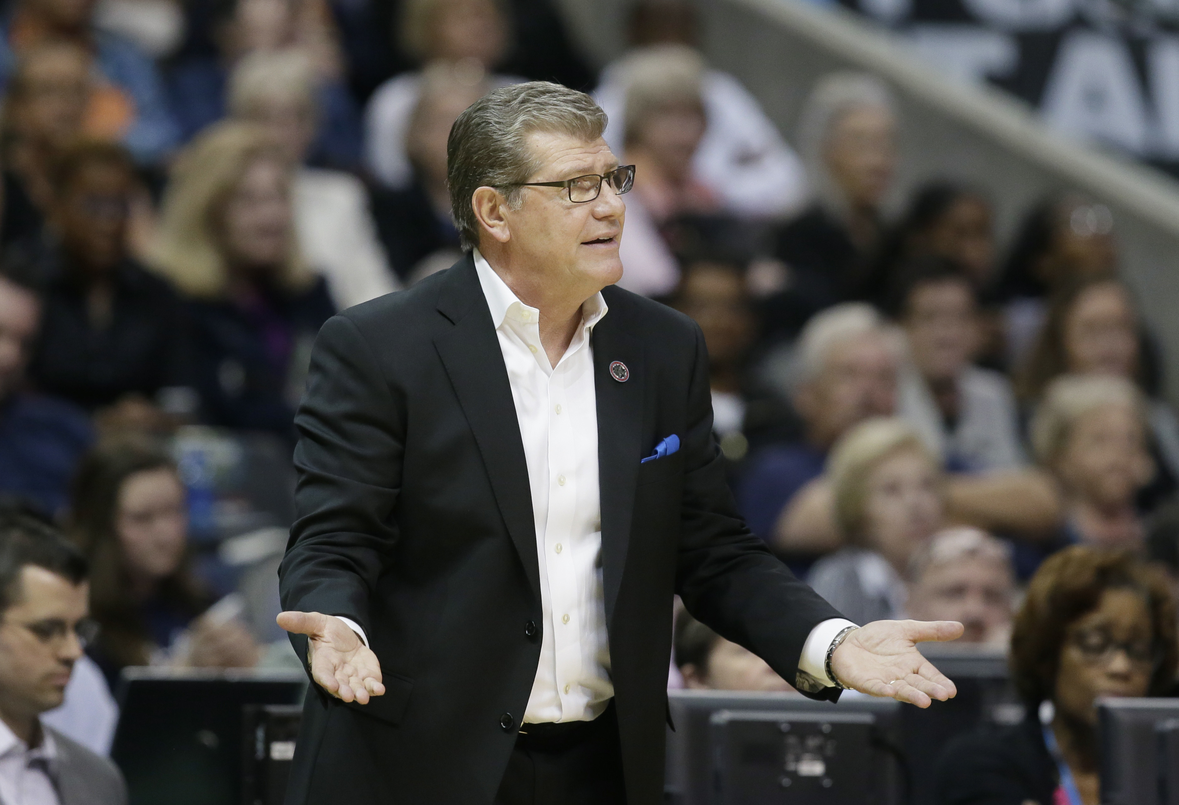 FILE - In this March 31, 2017 file photo, Connecticut head coach Geno Auriemma questions a call during the second half of an NCAA college basketball game against Mississippi State during an NCAA college basketball game in the semifinals of the women's Fin