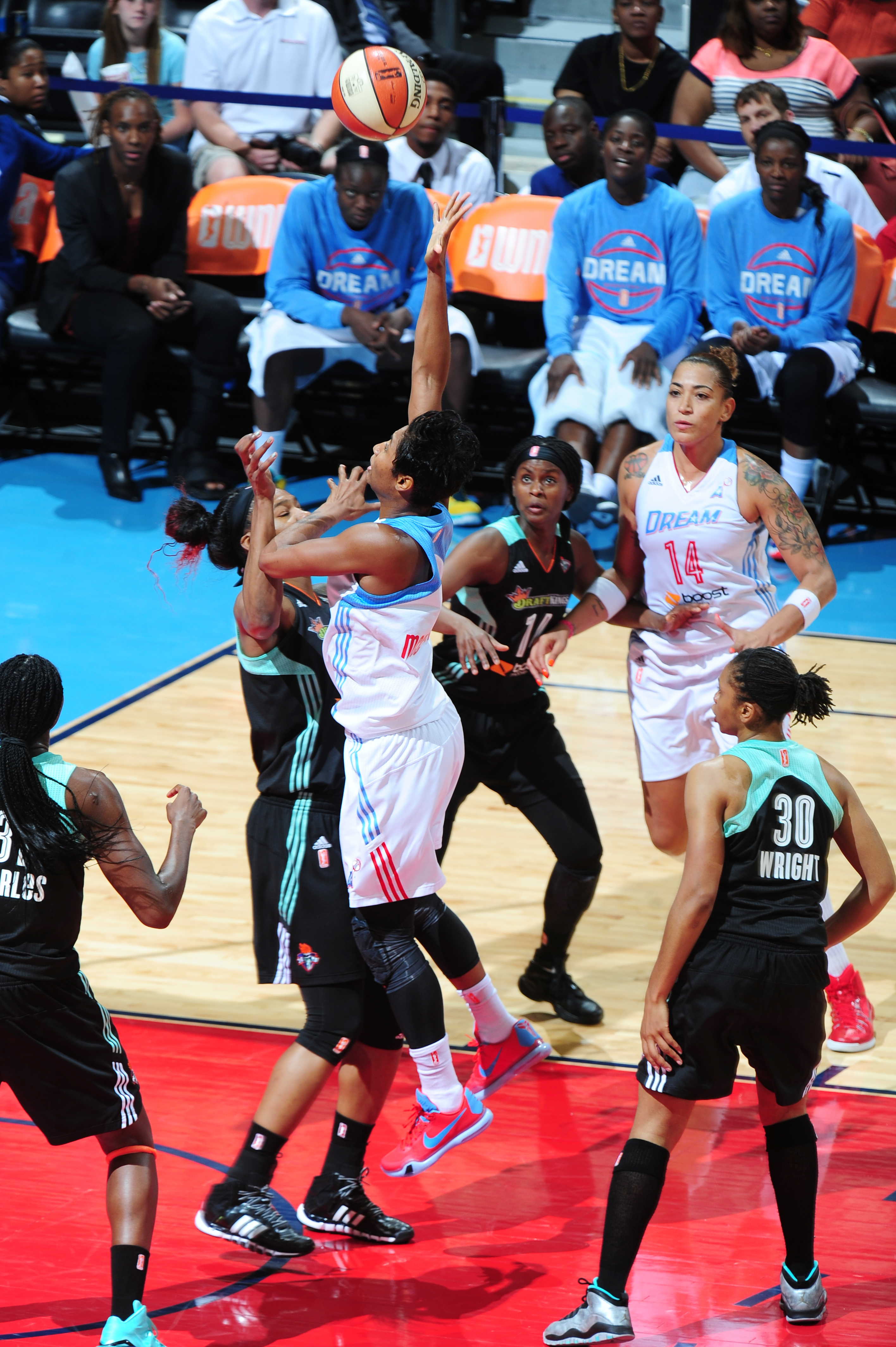 ATLANTA, GA - JULY 12:  Angel McCoughtry #35 of the Atlanta Dream shoots the ball against the New York Liberty in a WNBA game on July 12, 2015 at Philips Arena in Atlanta, Georgia.  (Photo by Scott Cunningham/NBAE via Getty Images)
