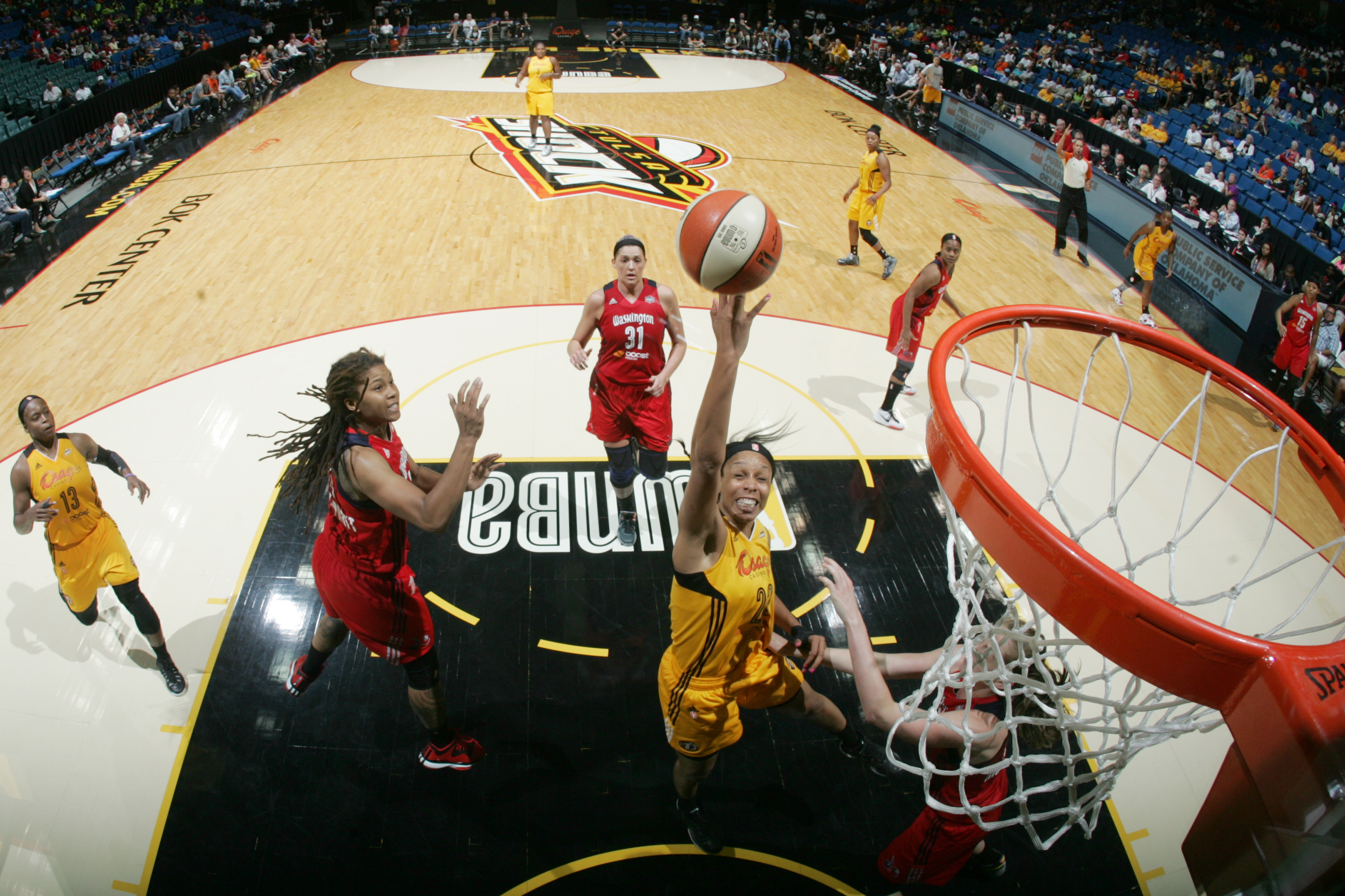 TULSA, OK - JULY 21:  Plenette Pierson #22 of the Tulsa Shock shoots the ball against the Washington Mystics in a WNBA game on July 21, 2015 at the BOK Center in Tulsa, Oklahoma.  (Photo by Shane Bevel/NBAE via Getty Images)