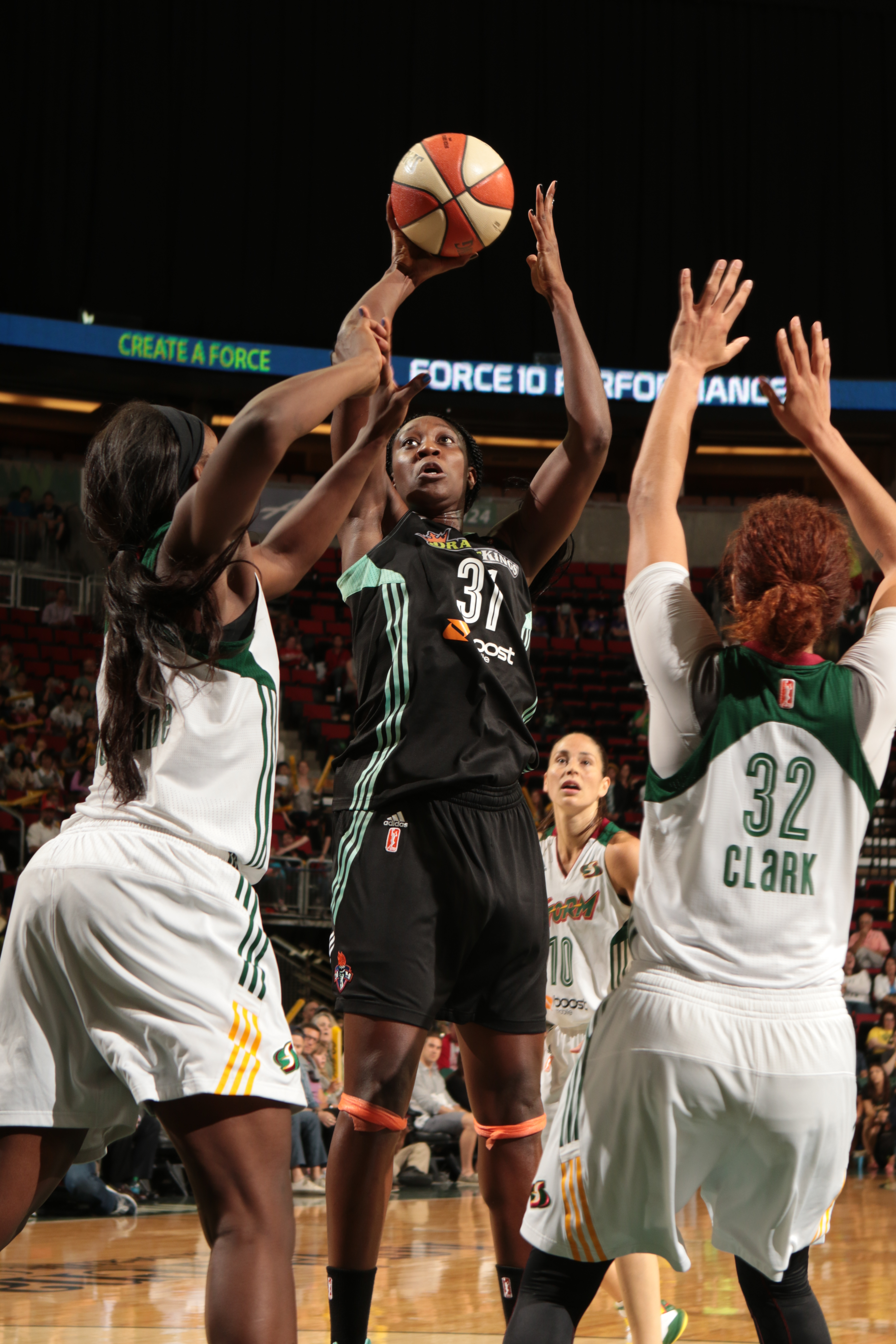 SEATTLE, WA - JULY 21: Tina Charles #31 of the New York Liberty takes a shot against the Seattle Storm on July 21, 2015 at Key Arena in Seattle, Washington. (Photo by Joshua Huston/NBAE via Getty Images)