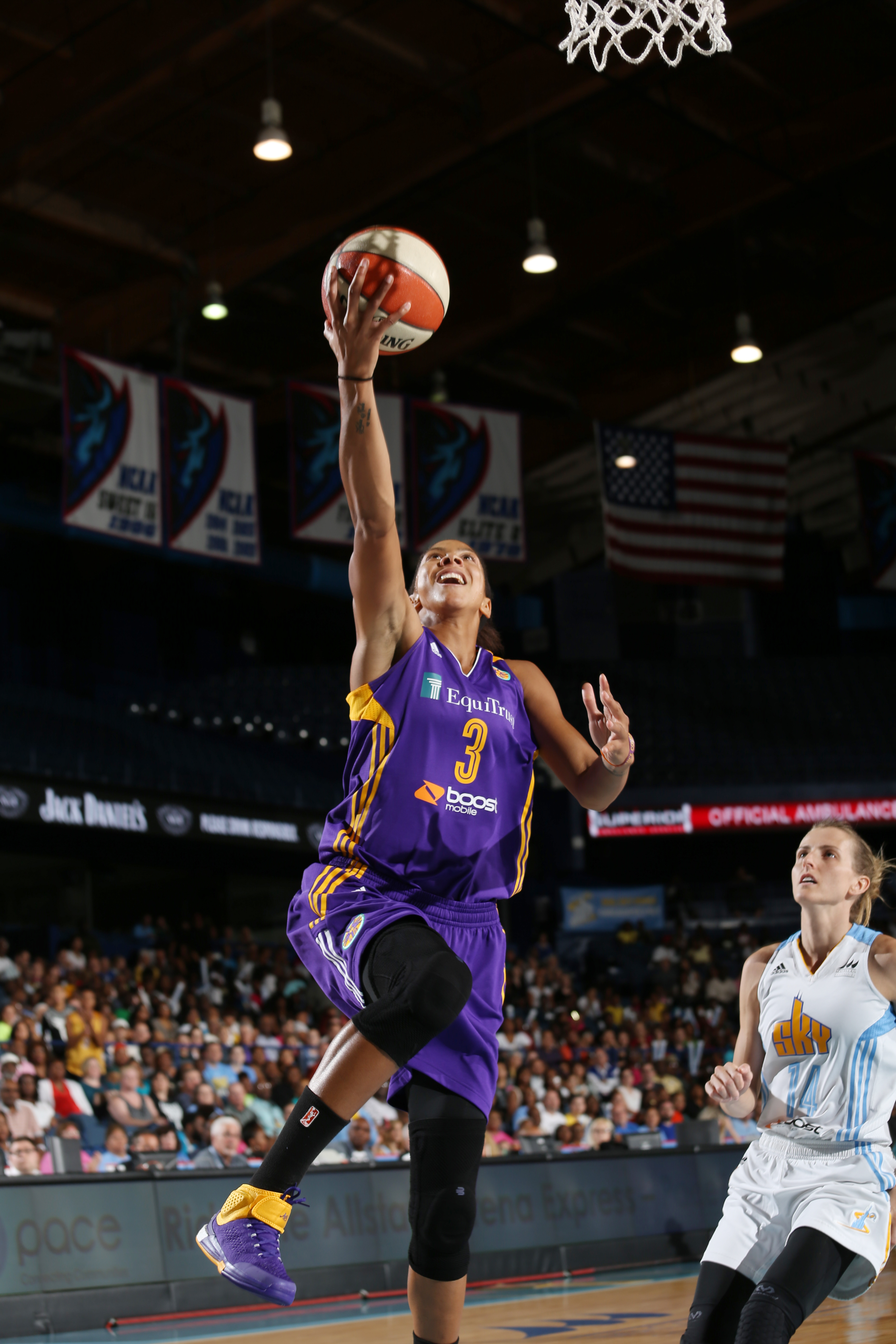 ROSEMONT, IL - JULY 31: Candace Parker #3 of the Los Angeles Sparks goes up for a shot against the Chicago Sky on July 31, 2015 at Allstate Arena in Rosemont, Illinois. (Photo by Gary Dineen/NBAE via Getty Images)