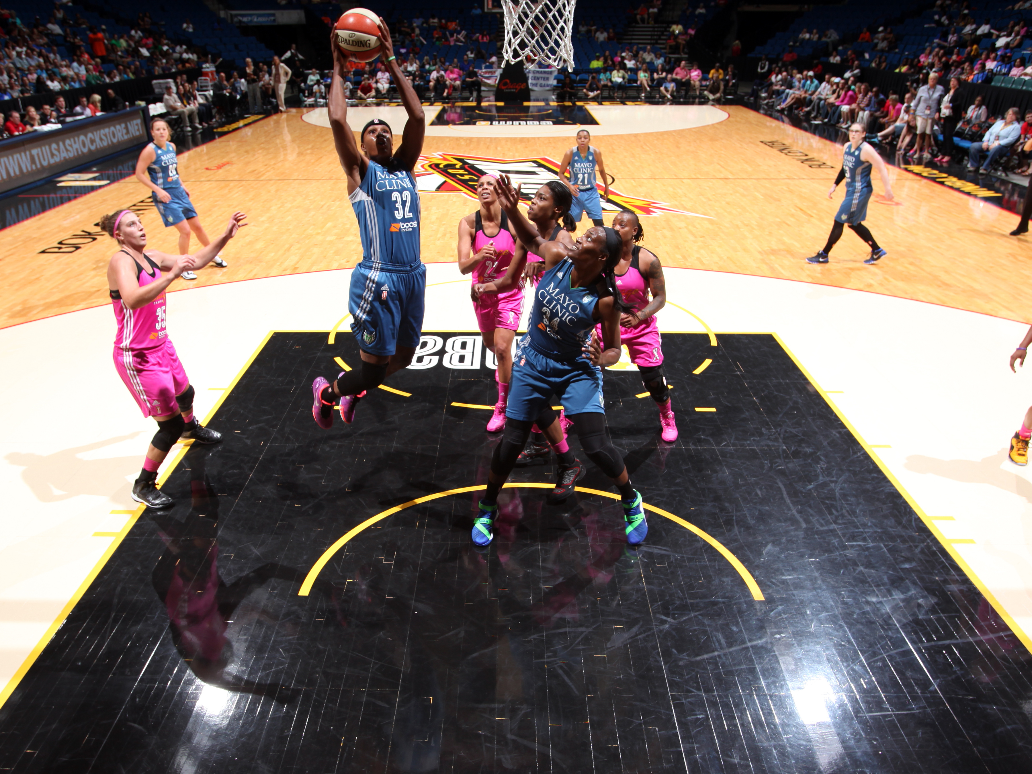 TULSA, OK - AUGUST 1: Rebekkah Brunson #32 of the Minnesota Lynx shoots the ball against the Tulsa Shock on August 1, 2015 at the BOK Center in Tulsa, Oklahoma.  (Photo by Shane Bevel/NBAE via Getty Images)