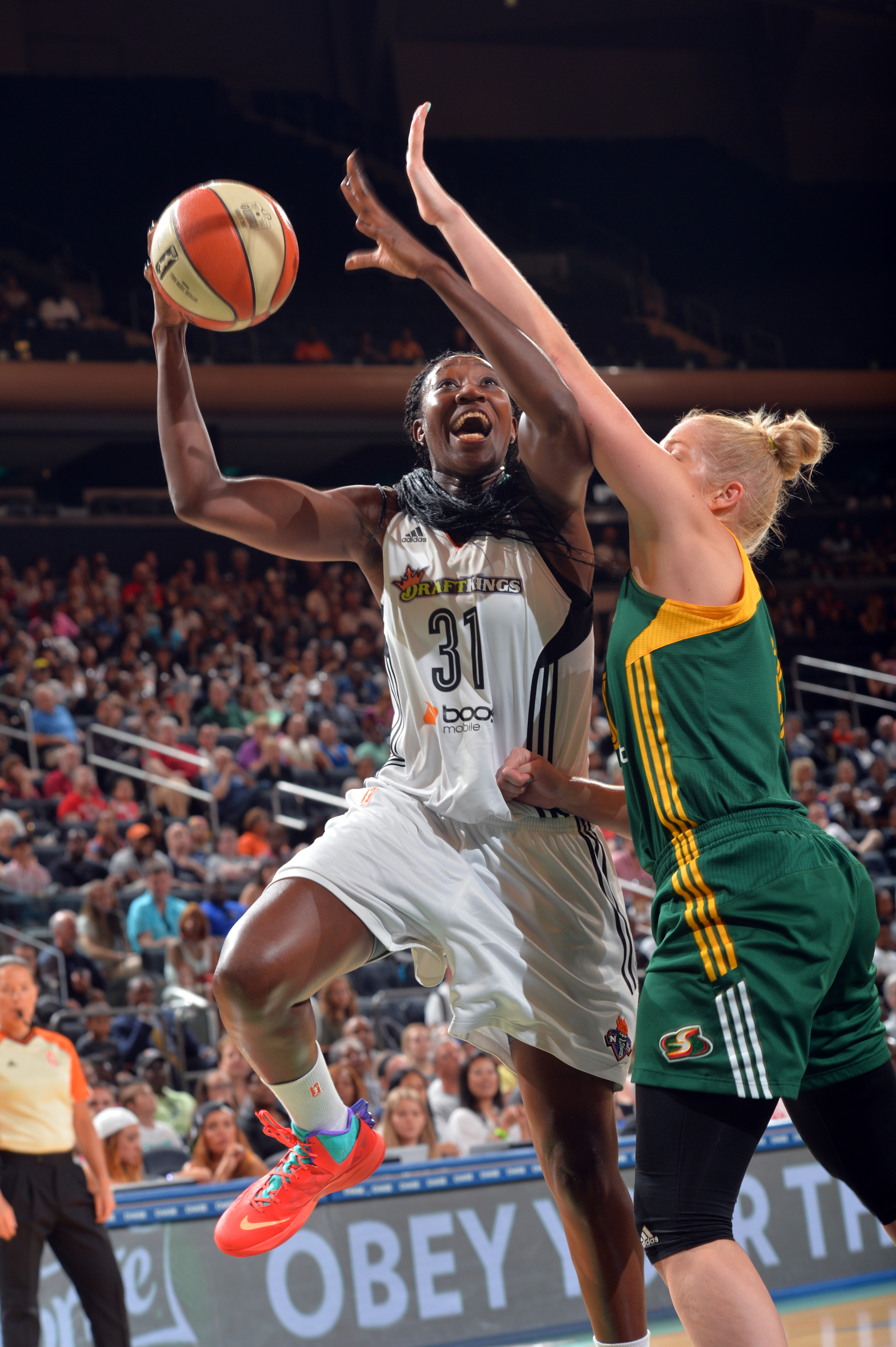 NEW YORK, NY - AUGUST 2: Tina Charles #31 of the New York Liberty goes for the lay up against the Seattle Storm on August 2, 2015 at Madison Square Garden in New York City, NY. (Photo by Jesse D. Garrabrant/NBAE via Getty Images