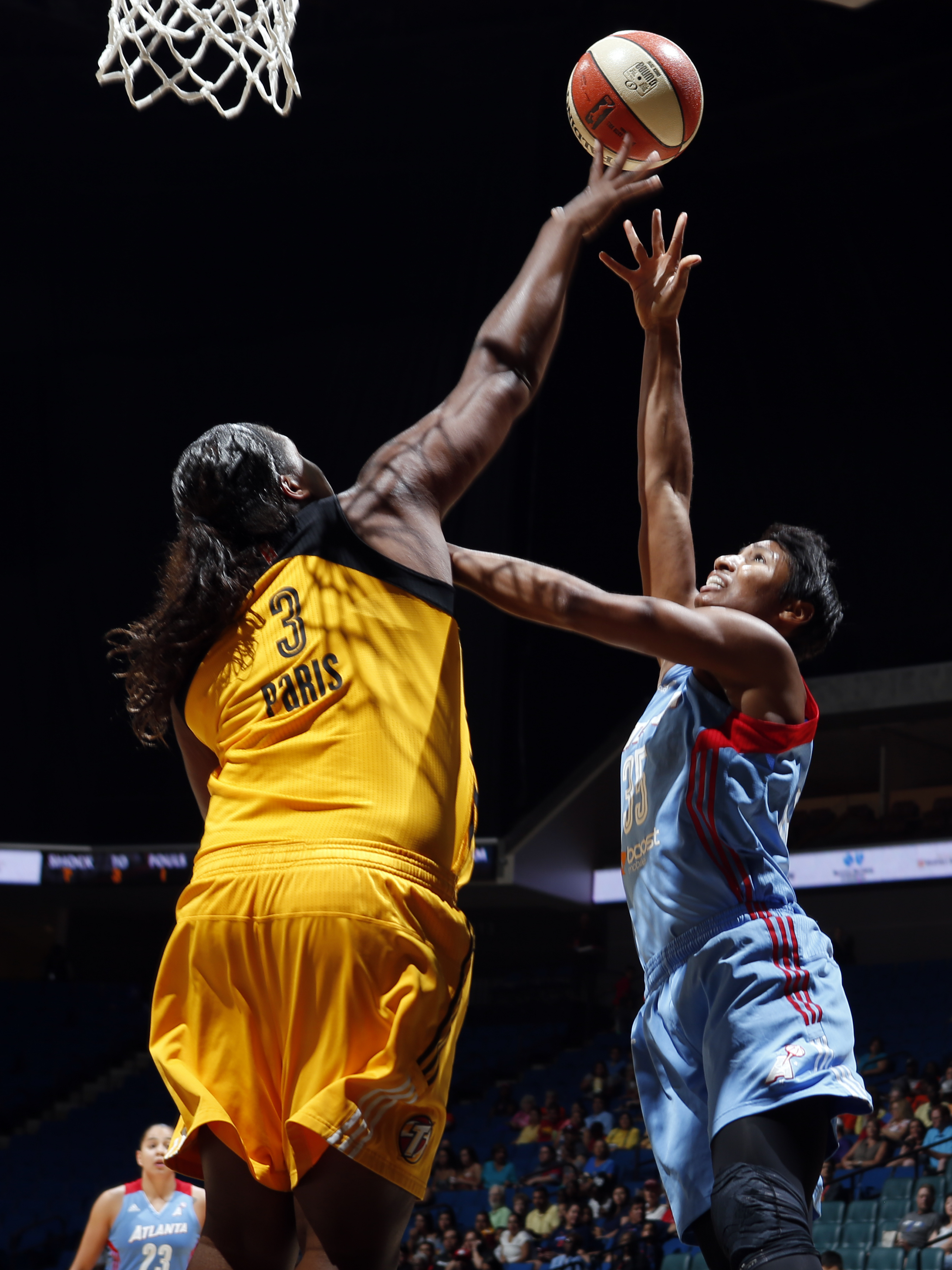TULSA, OK - AUGUST 9: Angel McCoughtry #35 of the Atlanta Dream shoots the ball against the Tulsa Shock on August 9, 2015 at the BOK Center in Tulsa, Oklahoma.  (Photo by Shane Bevel/NBAE via Getty Images)