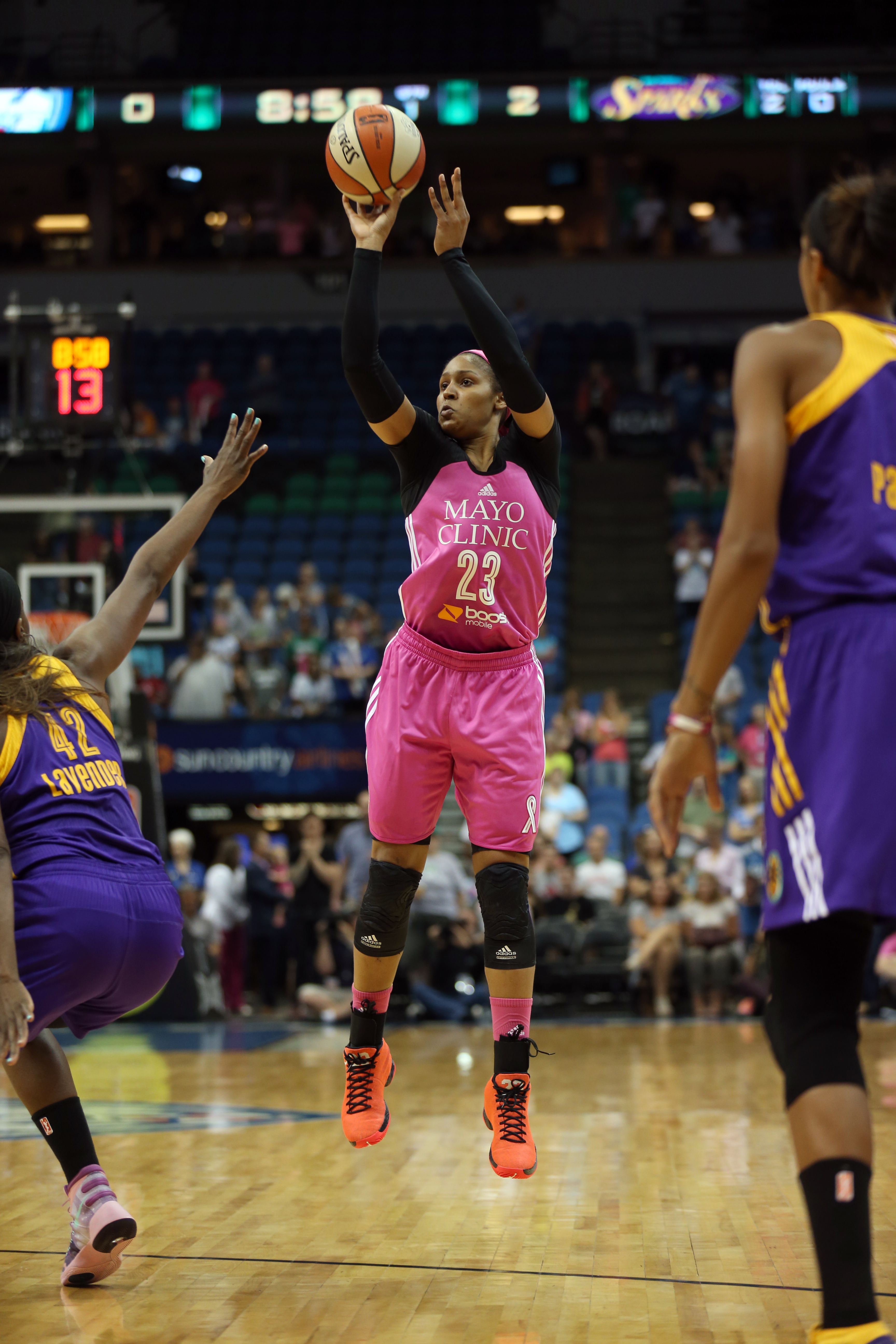 MINNEAPOLIS, MN - AUGUST 9: Maya Moore #23 of the Minnesota Lynx shoots the ball against the Los Angeles Sparks on August 9, 2015 at Target Center in Minneapolis, Minnesota. (Photo by Jordan Johnson/NBAE via Getty Images)