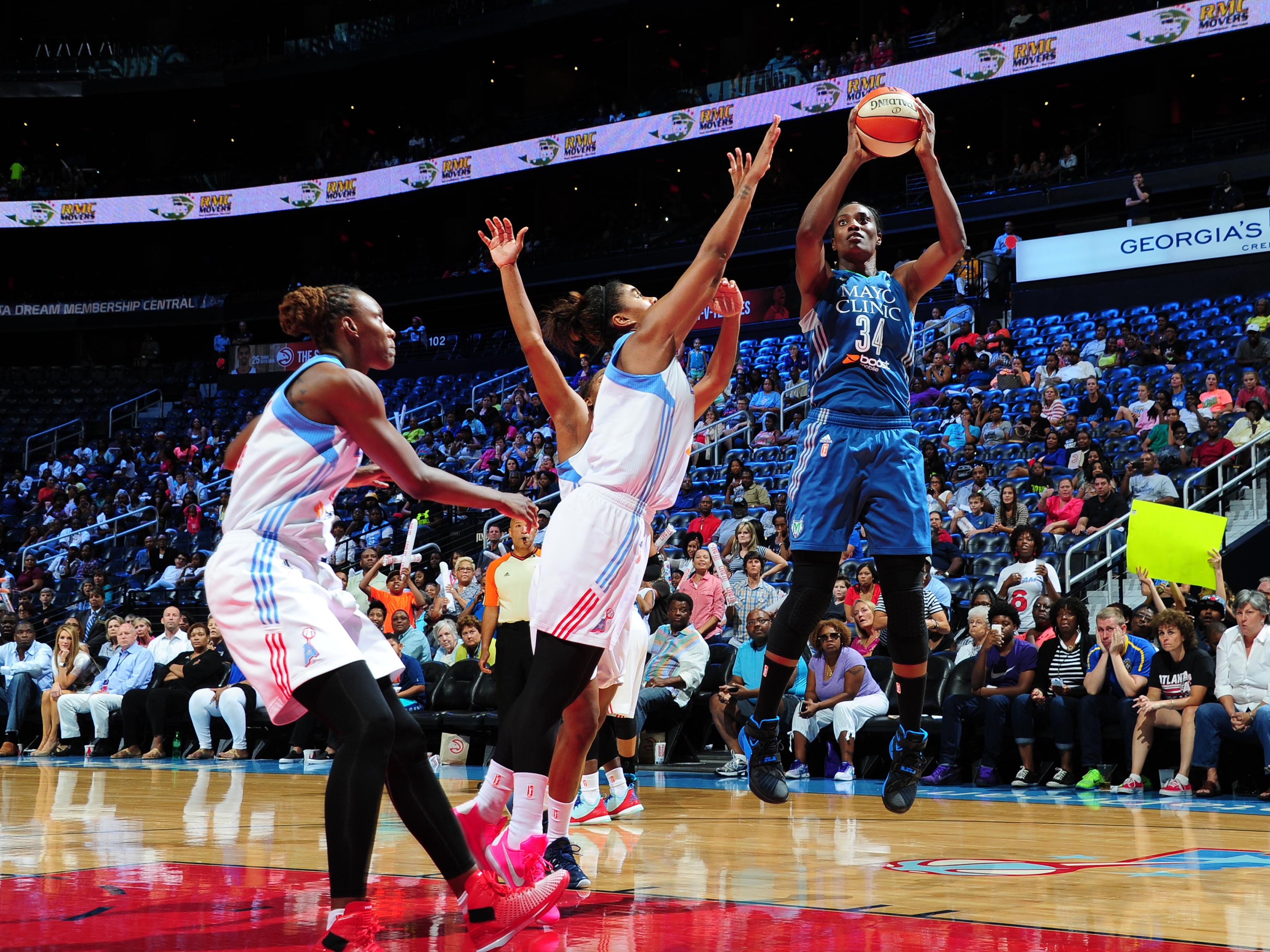 ATLANTA, GA - AUGUST 14: Sylvia Fowles #34 of the Minnesota Lynx shoots the ball against the Atlanta Dream on August 14, 2015 at Philips Arena in Atlanta, Georgia.  (Photo by Scott Cunningham/NBAE via Getty Images)