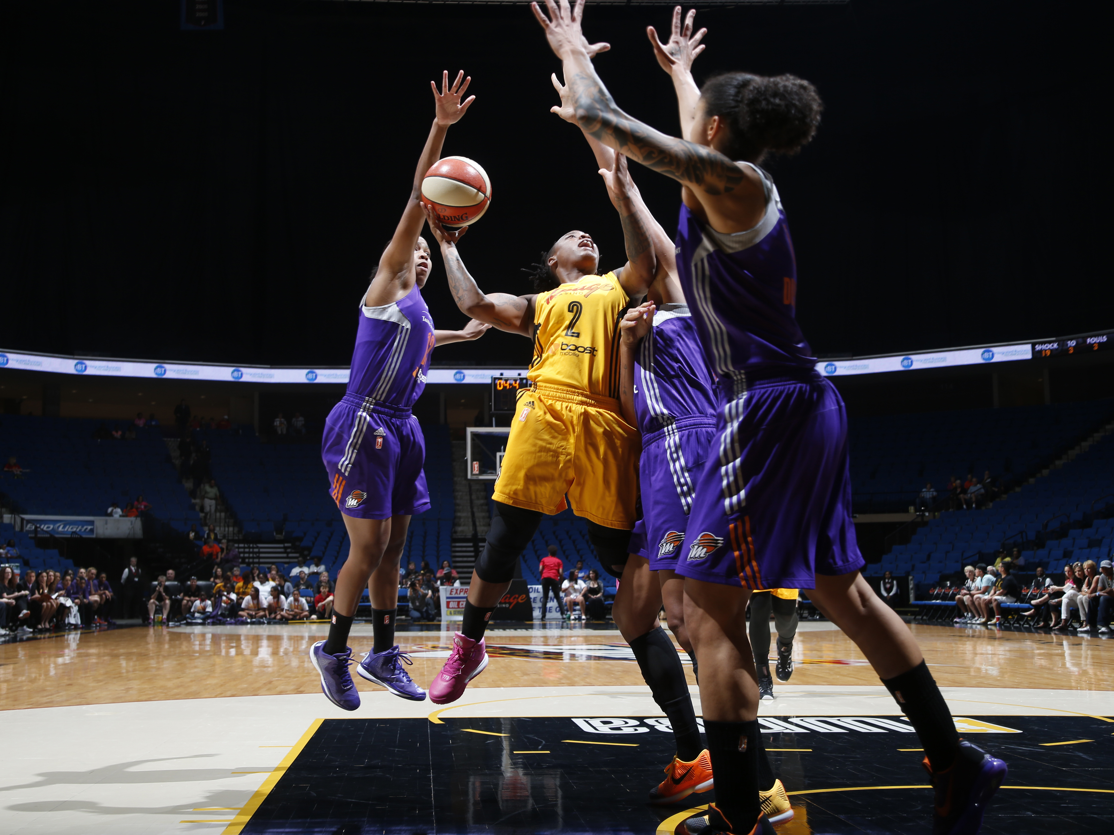 TULSA, OK - AUGUST 18: Riquna Williams #2 of the Tulsa Shock shoots the ball against the Phoenix Mercury on August 18, 2015 at the BOK Center in Tulsa, Oklahoma.  (Photo by Shane Bevel/NBAE via Getty Images)