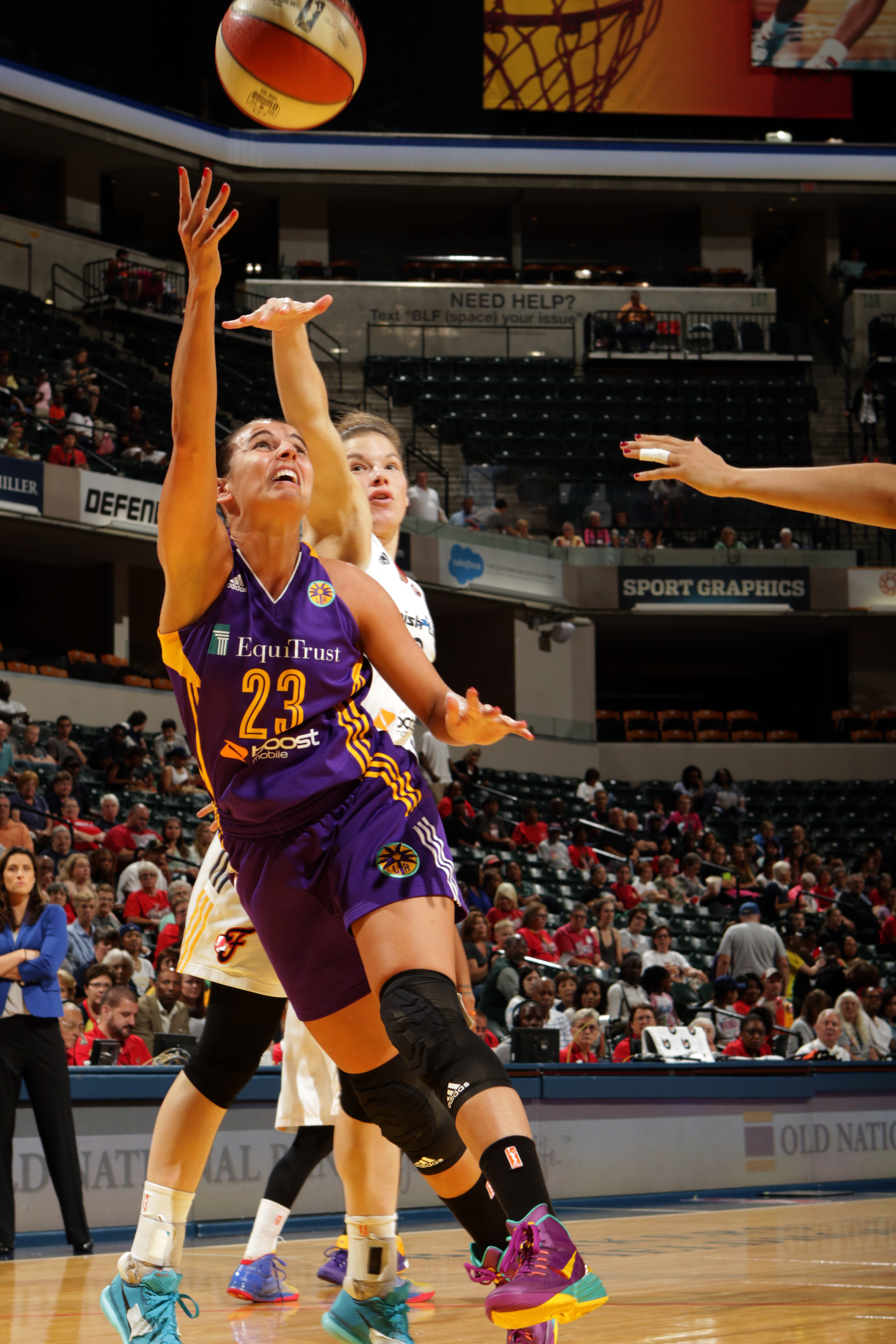 INDIANAPOLIS - AUGUST 26: Ana Dabovic #23 of the Los Angeles Sparks shoots the ball against the Indiana Fever on August 26, 2015 in Indianapolis, Indiana.  (Photo by Ron Hoskins/NBAE via Getty Images)