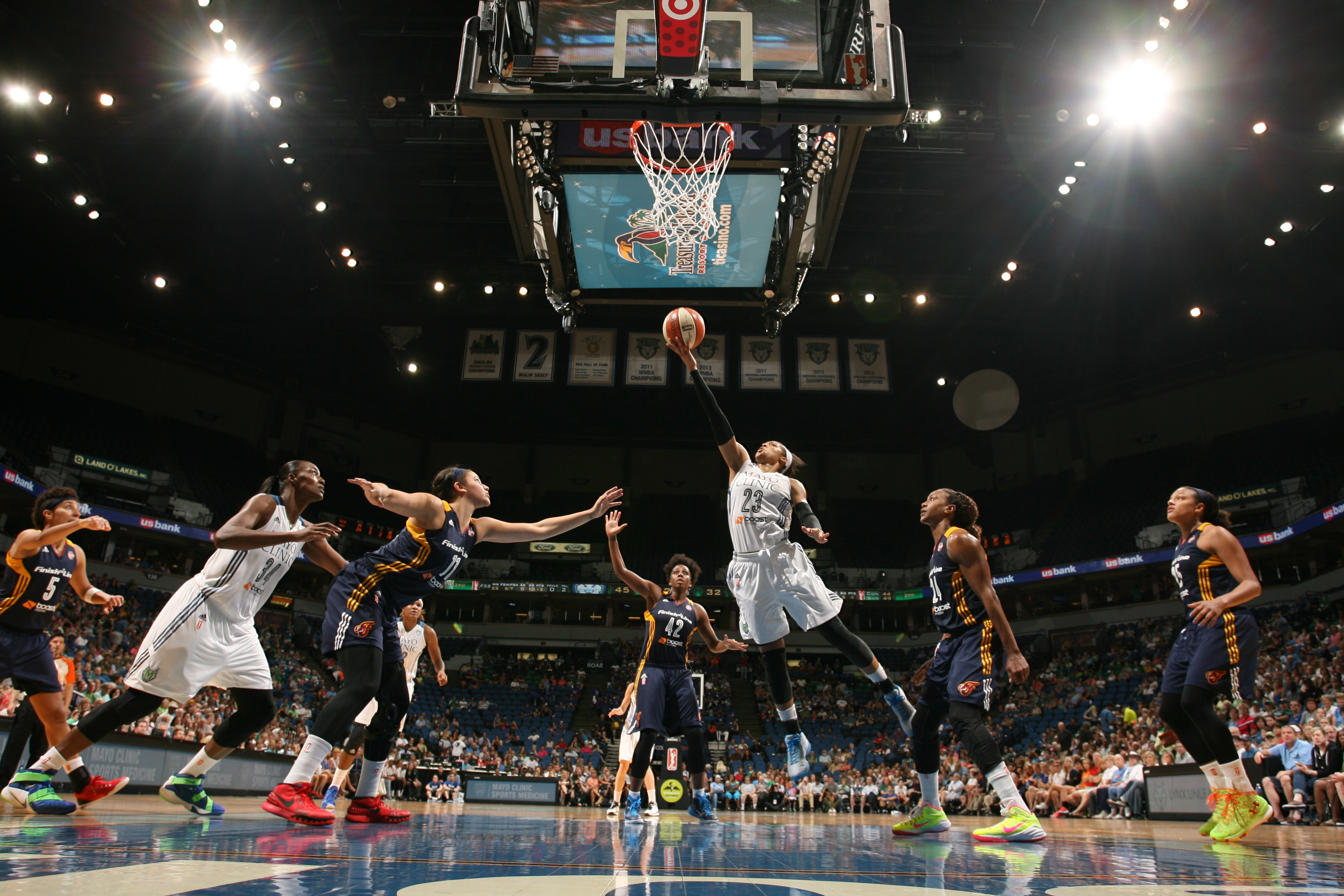 MINNEAPOLIS, MN - SEPTEMBER 4: Maya Moore #23 of the Minnesota Lynx goes for the lay up against the Indiana Fever on September 4, 2015 at Target Center in Minneapolis, Minnesota.  (Photo by David Sherman/NBAE via Getty Images
