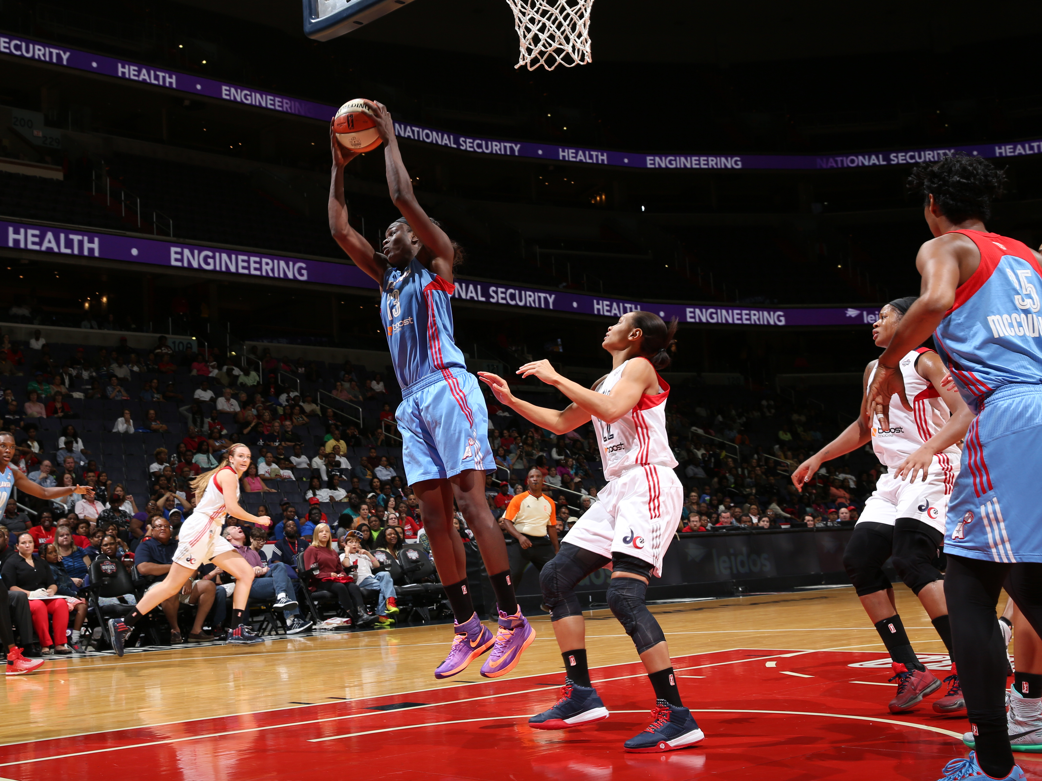 WASHINGTON, DC - SEPTEMBER 13: Aneika Henry #13 of the Atlanta Dream grabs the rebound against the Washington Mystics on September 13, 2015 at the Verizon Center in Washington, DC. (Photo by Stephen Gosling/NBAE via Getty Images)