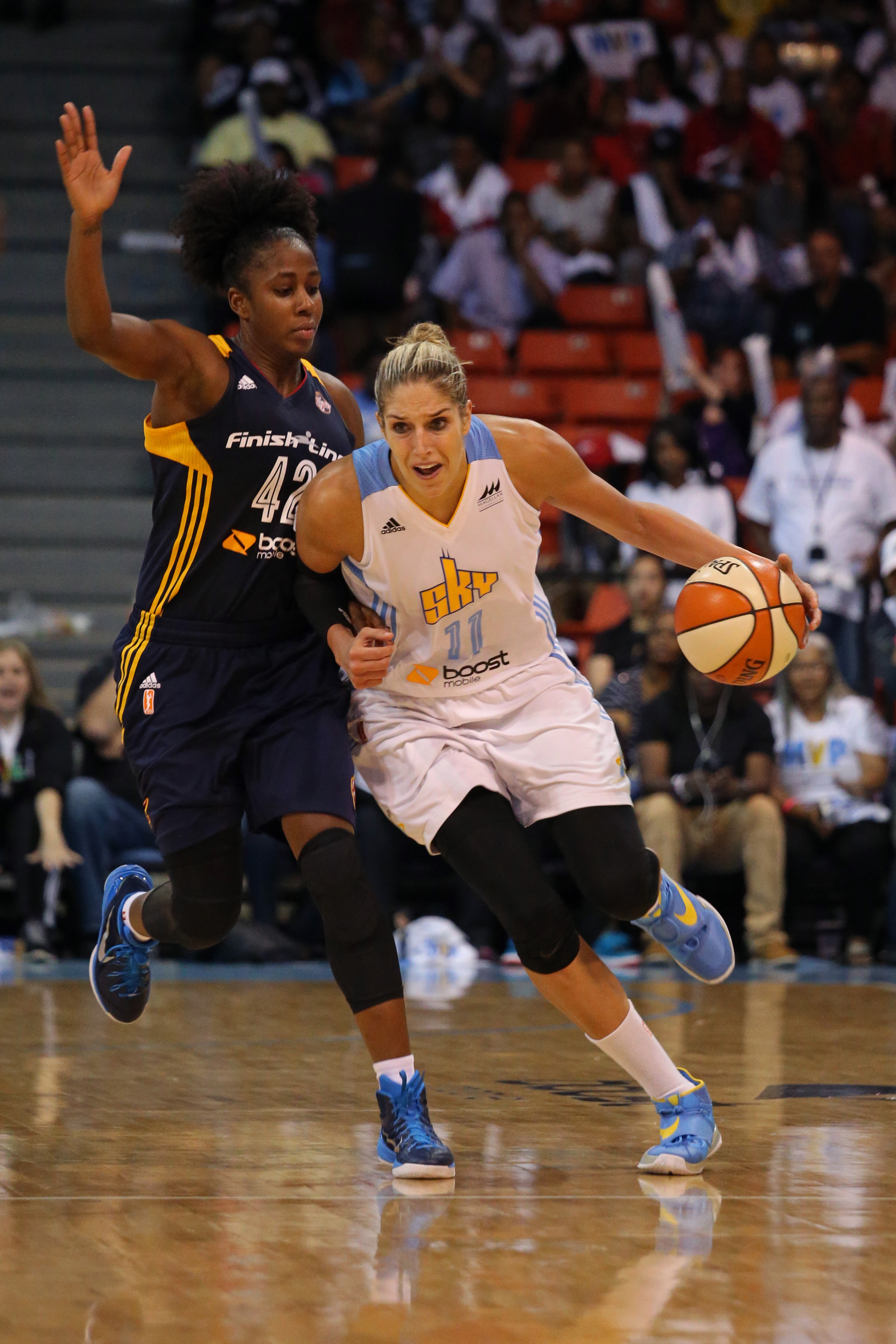 CHICAGO, IL - SEPTEMBER 17:  Elena Delle Donne #11 of the Chicago Sky drives to the basket against the Indiana Fever during Game One of the Eastern Conference Semifinals on September 17, 2015 at UIC Pavilion in Chicago, Illinois. (Photo by Gary Dineen/NBA