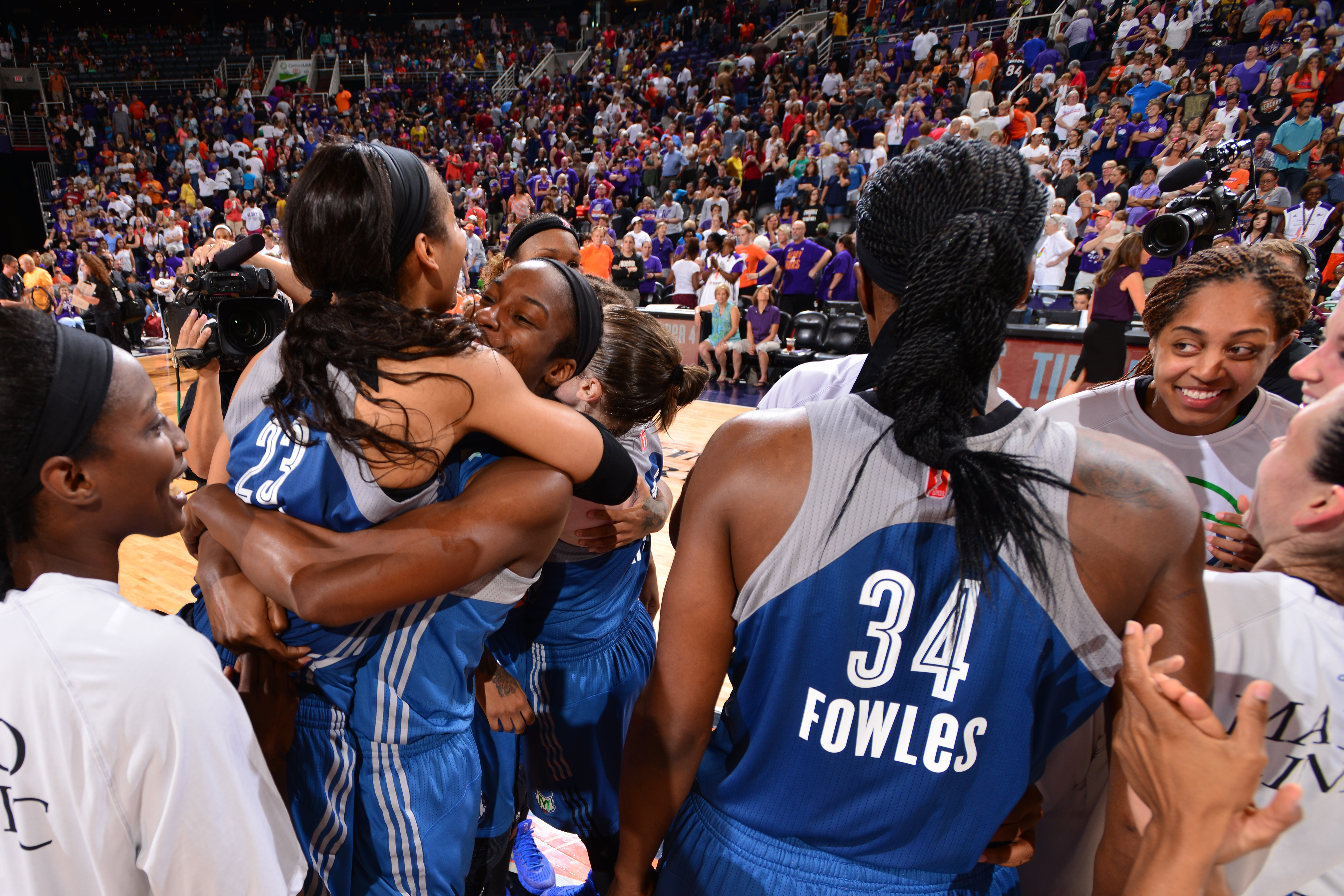 PHOENIX, AZ - SEPTEMBER 27:  The Minnesota Lynx celebrate their win against the Phoenix Mercury during the WNBA Playoffs Western Conference Finals Game 2 on September 27, 2015 at the Talking Stick Resort Arena in Phoenix, Arizona. (Photo by Barry Gossage/