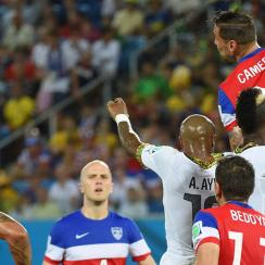 U.S. central defender Geoff Cameron was called into action repeatedly against Ghana, rising to the challenge pictured above to head away a cross.