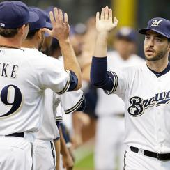 Brewers right fielder Ryan Braun is batting .289 with 11 homers and a team-high 49 RBI.
