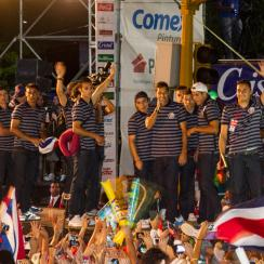 Costa Rica players receive a heroes' welcome in San Jose after a memorable run to the World Cup quarterfinals.