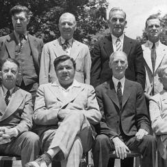 The Hall of Fame opened its doors in 1939 and welcomed its first four classes of inductees, which included (clockwise from top left) Honus Wagner, Grover Cleveland Alexander, Tris Speaker, Napoleon Lajoie, George Sisler, Walter Johnson, Cy Young, Connie Mack, Babe Ruth and Eddie Collins (Ty Cobb arrived too late for the photo).