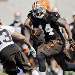Ben Tate runs with the ball at Browns training camp