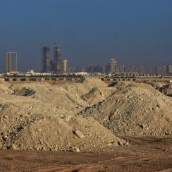 The plot of land where Lusail Iconic Stadium outside Doha, Qatar, will stand is mounds of dirt and sand last fall, some nine years before the World Cup is slated to be played there.