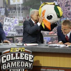 Chris Fowler, Lee Corso and Kirk Herbstreit on the set of College Gameday