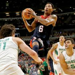 USA basketball's Derrick Rose scored seven points in 24 minutes against Brazil in his homecoming back to the Chicago Bulls' United Center.