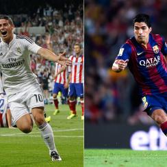 Real Madrid and Barcelona paid hefty prices to bring James Rodriguez, left, and Luis Suarez to their respective clubs after both fell short of Atletico Madrid in La Liga last season.