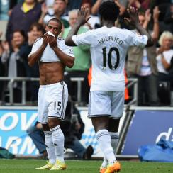 Wayne Routledge scored a highlight-reel volley to put Swansea City up 2-0 over West Bromwich Albion on Saturday.