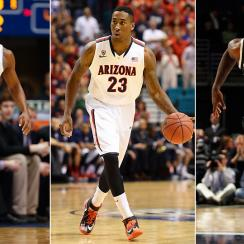From left to right, Kansas' Wayne Selden, Arizona's Rondae Hollis-Jefferson and Michigan State's Branden Dawson.