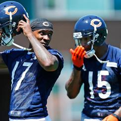 The Bears' offense may be severely limited in Week 2 if star wide receivers Alshon Jeffery (17) and Brandon Marshall are sidelined with injuries.