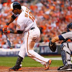 Orioles outfielder Alejandro De Aza drove in two RBI against the Tigers in Game 1.
