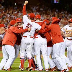 Cardinals celebrate NLDS win