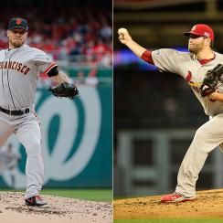 Jake Peavy squares off against Lance Lynn in Game 2 of the NLCS.