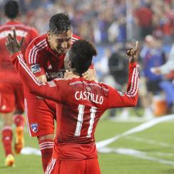 David Texeira and Fabian Castillo celebrate the latter's go-ahead goal in FC Dallas' 2-1 victory over the LA Galaxy Sunday night.
