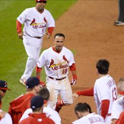 Kolten Wong Cardinals walk-off home run celebration NLCS Game 2