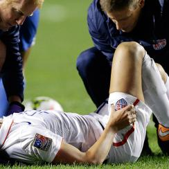 The United States' Alex Morgan suffered a left ankle sprain against Guatemala.