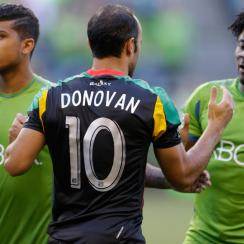 From left, DeAndre Yedlin, Landon Donovan and Obafemi Martins will try to lead their respective teams to MLS' Supporters' Shield in the finale two games of the weekend.