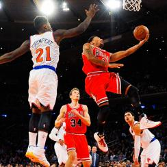 Derrick Rose scored 13 points in his return on Wednesday against the Knicks.