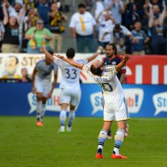 Landon Donovan lets out a cathartic shout after his LA Galaxy topped the New England Revolution in Sunday's MLS Cup final.