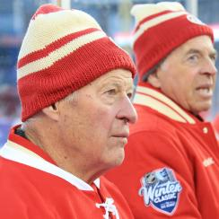 Gordie Howe and Barry Smith at the 2014 Winter Classic Alumni Showdown on Dec. 31, 2013 in Detroit.