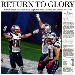 Boston Herald front page SuperBowl 2015