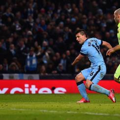 Sergio Aguero scored against Barcelona in the Champions League.