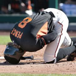 Giants outfielder Hunter Pence is out 6-8 weeks with a broken left forearm.