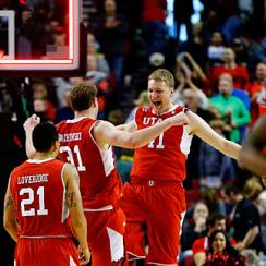 Brandon Taylor and Dallin Bachynski celebrated Utah's return to the Sweet 16 after a 10-year absence.