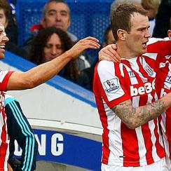 Charlie Adam, far right, celebrates his brilliant strike from distance