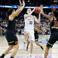 Breanna Stewart scored 25 points in UCONN's Final Four win against Maryland.