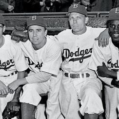 Spider Jorgensen, Pee Wee Reese and Eddie Stanky joined Jackie Robinson in Brooklyn's starting infield.