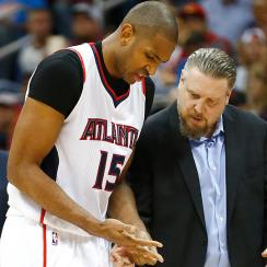 Al Horford overcame a dislocated finger to help lead Atlanta to a Game 1 win over Brooklyn.