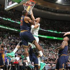 LeBron James block on Evan Turner in Cavs' Game 3 victory over Celtics.