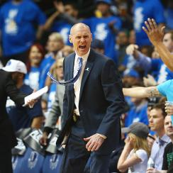 Rick Carlisle wore a piece of tape to a press conference following Game 4 on Sunday.